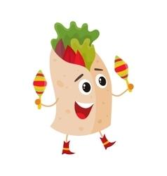 Smiling big eyed burrito playing Mexican maracas vector image vector image