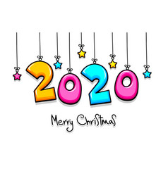 2020 cartoon new year number sketch doodle style vector image