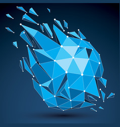 3d low poly object with blue connected lines and vector image