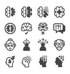 alzheimer disease icon set vector image
