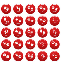 Animal footprint icons set vetor red vector