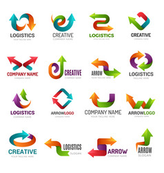 arrows logotype digital web stylized symbols vector image