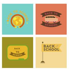 assembly flat icons back to school pencil globe vector image