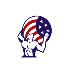 Atlas Carrying Globe USA Flag Retro vector image