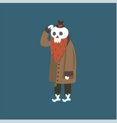 bearded human skeleton wearing warm coat dead man vector image