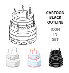 birthday cake icon in cartoon style isolated on vector image