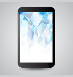 Black modern gadget with blue polygonal background vector