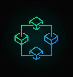 blockchain colored outline icon block vector image