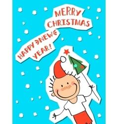 boy in a hat of Santa Claus vector image
