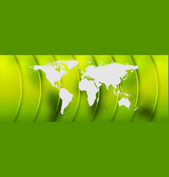 bright green abstract background with world map vector image