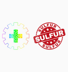 Bright pixel plus gear icon and distress vector
