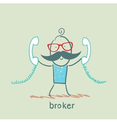 Broker with two handsets vector
