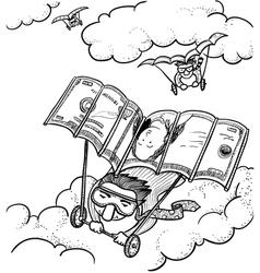 Businessmen fly vector
