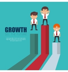 businessmen standing financial bar growth vector image
