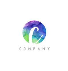 c watercolor letter logo design with circular vector image