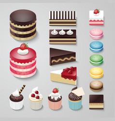 Cakes flat design dessert bakery set vector image