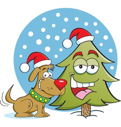 Cartoon Christmas Dog and Tree vector image