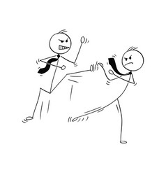cartoon of two businessmen kung fu or karate vector image