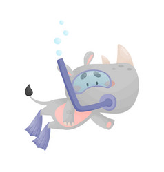 Cartoon rhino wearing diving suit snorkeling vector