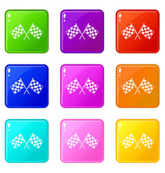 checkered racing flags set 9 vector image