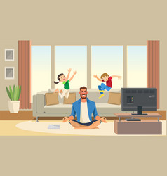 Children play and jump on sofa vector