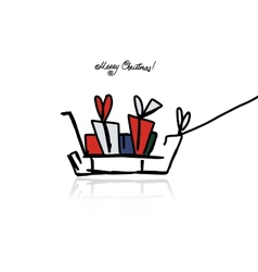 Christmas gifts in sledge sketch for your design vector image