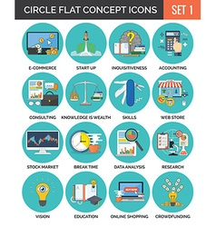 Circle Colorful Concept Icons Flat Design Set 1 vector image