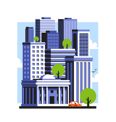 city landscape of downtown with high skyscrapers vector image
