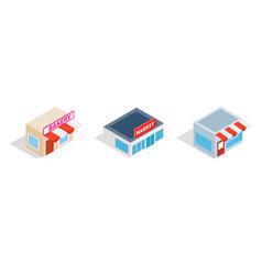 city market icon set isometric style vector image