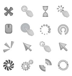 Click cursors icons set monochrome style vector