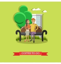 Coffee to go concept in flat vector