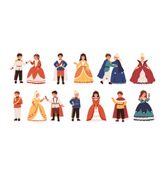 collection cute little princes and princesses vector image