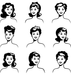 Collection portraits beautiful pin up girls vector