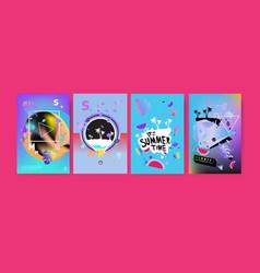 Colorful summer poster set tropical summer design vector