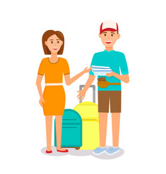 couple with luggage isolated on white background vector image