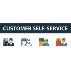 customer self-service icon set premium symbol in vector image
