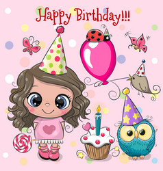 Cute girl owl and bird with balloon and bonnets vector