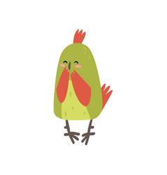 cute happy bird lookig at mirror funny birdie vector image