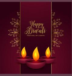 Decorative happy diwali festival card design with vector