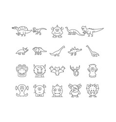 dinosaurs line icons signs set outline vector image
