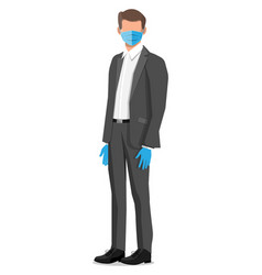disposable medical mask on person face vector image