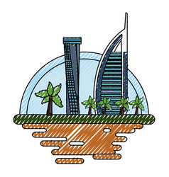dubai cityscape cartoon vector image