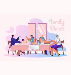 family dinner flat banner template vector image