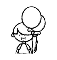 Figure cute boy with balloons and hairstyle design vector