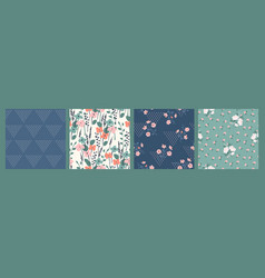 Floral abstract seamless patterns design vector