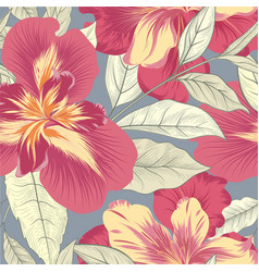 Floral seamless pattern flower iris background vector