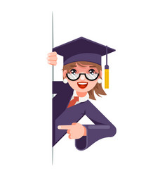 Graduate girl look out corner promotion pointing vector