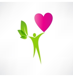 green man and the heart icon vector image