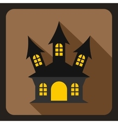 Halloween witch castle icon flat style vector image