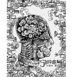hand drawn mechanical head vector image